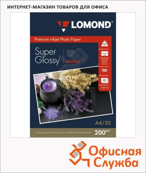 Фотобумага для струйных принтеров Lomond А4, 20 листов, 200 г/м2, суперглянцевая, 1101112