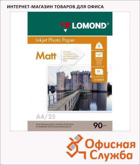 Фотобумага для струйных принтеров Lomond А4, матовая, 25 листов, 90г/м2, односторонняя, 102029