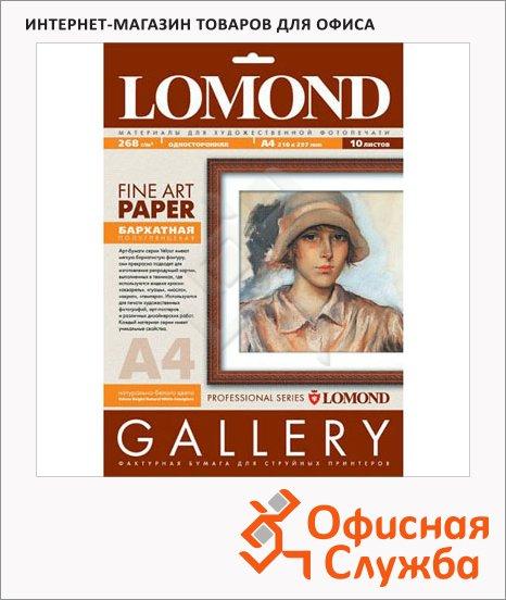 Фотобумага для струйных принтеров Lomond Fine Art Paper А4, 10 листов, 268г/м2, полуглянцевая, 0911241