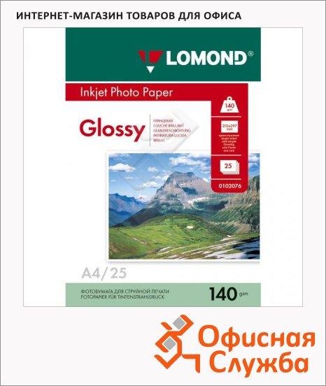 Фотобумага для струйных принтеров Lomond А4, 140г/м2, глянцевая, 25 листов, 102076