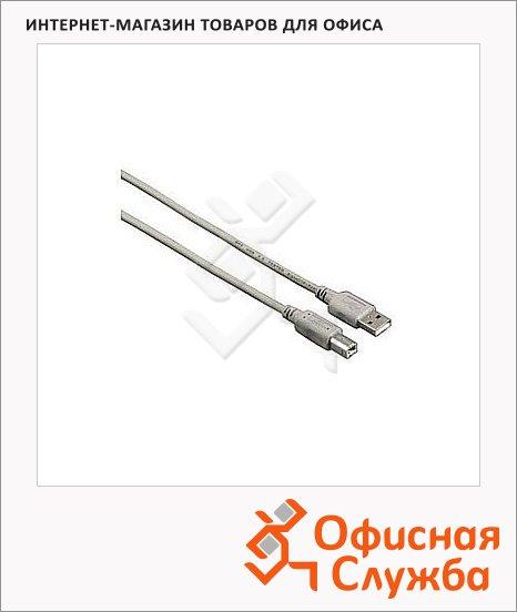 Кабель соединительный USB 2.0 Hama A-B (m-m) 1.5 м, серый, H-53722