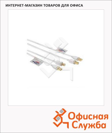 Кабель соединительный USB 2.0 Hama A-B (m-m) 1.8 м, позолоченные контакты, белый, H-78462