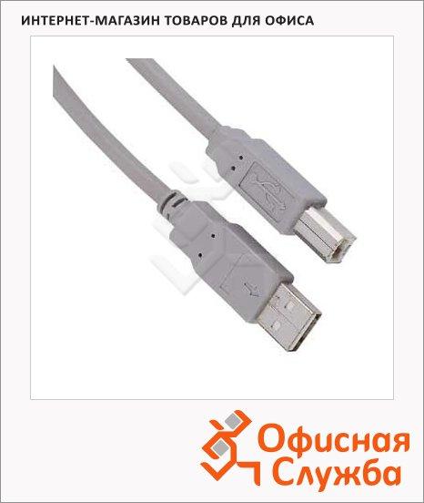 Кабель соединительный USB 2.0 Hama A-B (m-m) 1.8 м, серый, H-29099