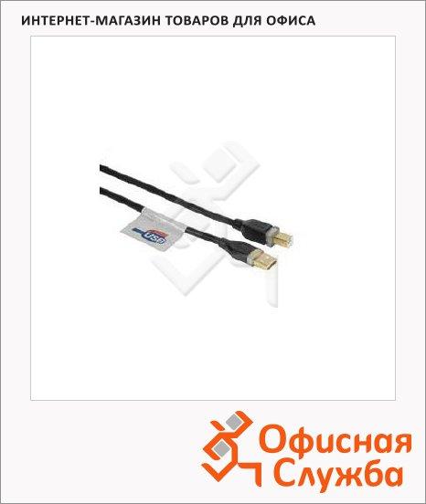 Кабель USB 2.0 Hama USB 2.0 A-B (m-m) 3 м, позолоченные контакты, черный