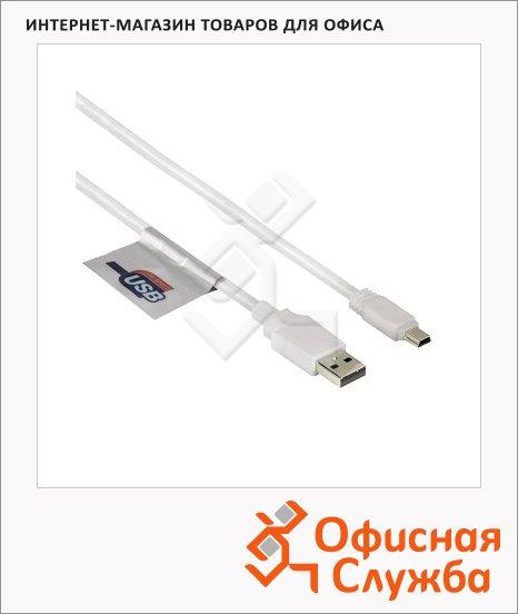 Кабель соединительный USB 2.0 Hama A-B-mini (m-m) 1.8 м, позолоченные контакты, белый, H-78468