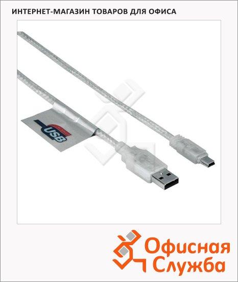 Кабель соединительный USB 2.0 Hama A-B-mini (m-m) 1.8 м/3м, прозрачный, H-41534
