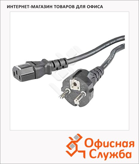 фото: Кабель питания [ObC]  3-pin-3-pin (m-f) 2.5м черный, H-46552