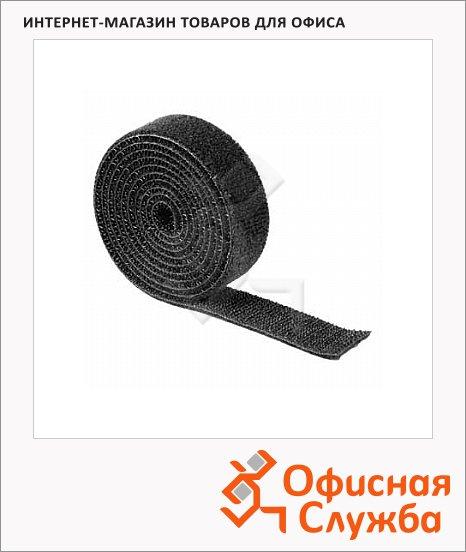 фото: Стяжка для кабеля Hama Hook&Loop 100см рулон, черная, термостойкая, на липучке