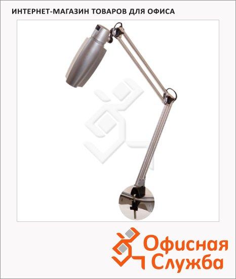 Светильник настольный Трансвит Гавана серебристый, на струбцине, накаливания/энергосберегающая