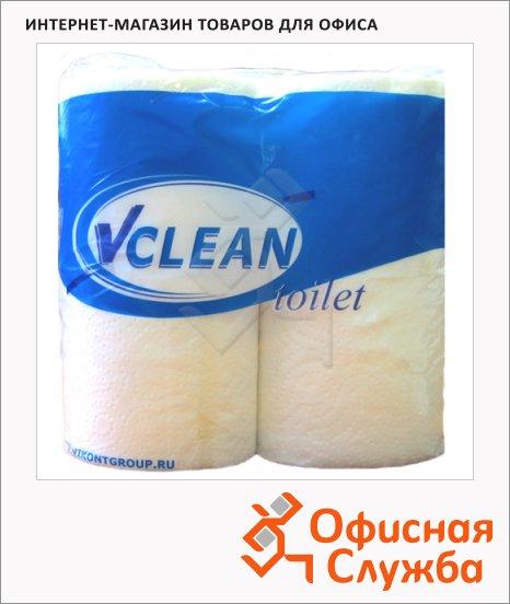 фото: Туалетная бумага Vclean без аромата белая, 2 слоя, 4 рулона, 23м