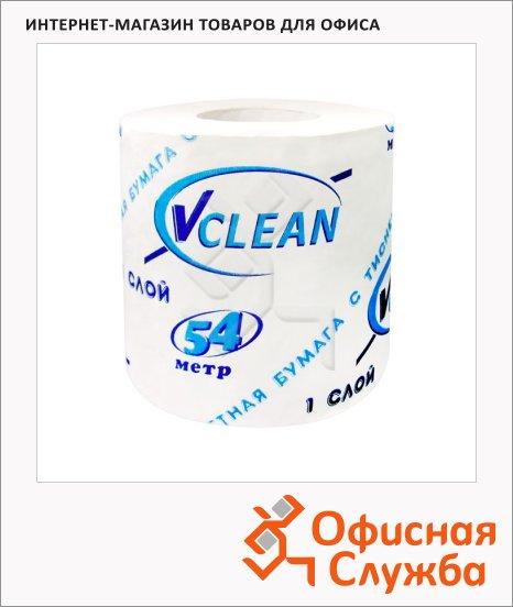 фото: Туалетная бумага Vclean без аромата белая, 1 слой, 1 рулон, 54м