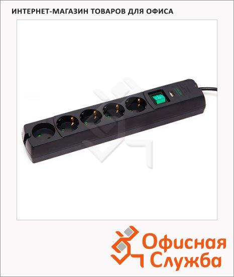 Сетевой фильтр Most Erg-USB 5 розеток, 1.7м, 3м, черный