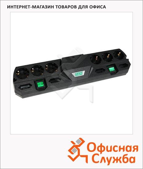 Сетевой фильтр Most ТRG 10 розеток, 2 независимых блока розеток для разной техники, 2м, черный