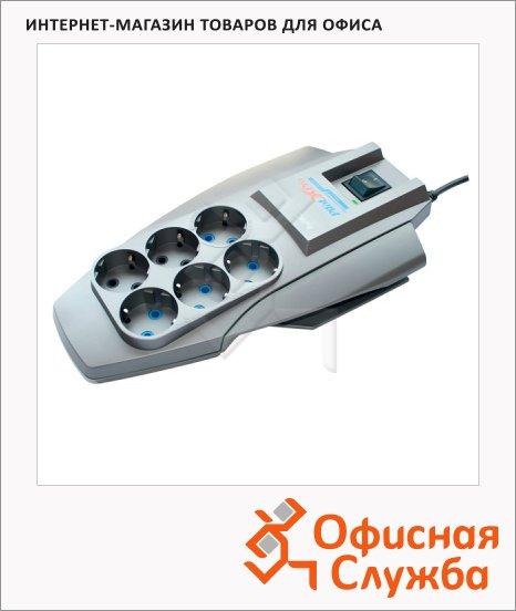 Сетевой фильтр Pilot Zis X-Pro 6 розеток, серый, 5м, серебристый