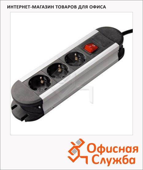 фото: Удлинитель электрический Hama Pro-S 30S 3 розетки 3м, серебристо-черный