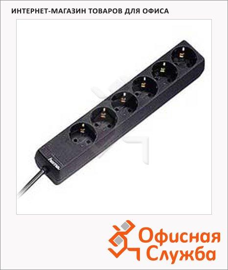 Удлинитель электрический Hama 6 розеток, 1.4м, черный, H-30393