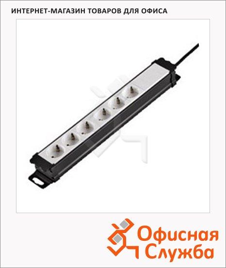фото: Удлинитель электрический Hama 6 розеток 2м, черно-белый, H-47821