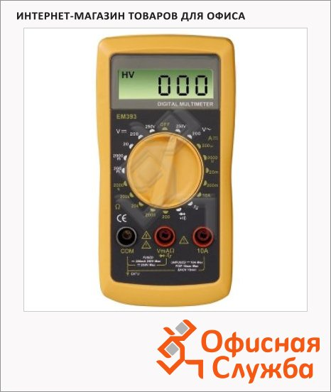 Цифровой мультиметр Hama EM393 с двумя щупами для измерений, черно-желтый