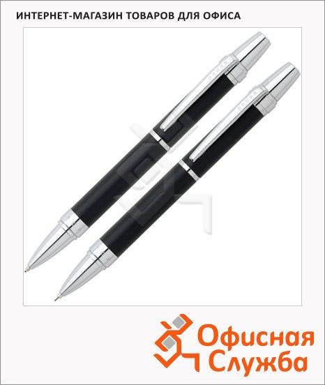Набор шариковая ручка+карандаш Cross Nile Satin Black, М, черная, корпус латунь и хром, AT0381G-7