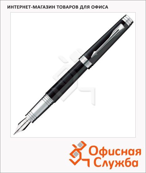 Ручка перьевая Parker Premier Lacque F560 М, черный/серебряный корпус