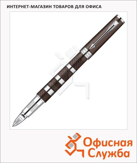 Ручка-5й пишущий узел Parker F, черная, коричневый/хром корпус