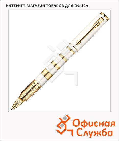 Ручка-5й пишущий узел Parker Ingenuity S F503 Ring F, черная, белый/золотой корпус
