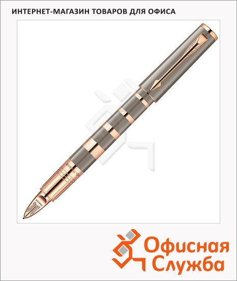Ручка-5й пишущий узел Parker Ingenuity S F503 Ring, черная, F, серый/золотой корпус