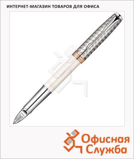 Ручка-5й пишущий узел Parker Sonnet F540 F, черная, жемчужный/металлический корпус
