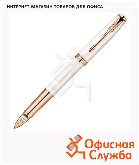 Ручка-5й пишущий узел Parker Sonnet F540 F, черная, жемчужный корпус
