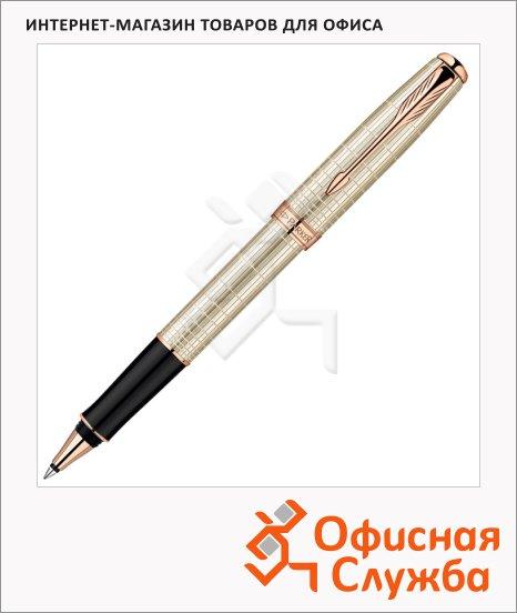 Ручка-роллер Parker Sonnet T535 F, черная, серебристый/розовое золото корпус