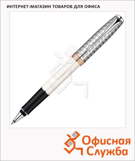 Ручка-роллер Parker Sonnet T540 F, черная, жемчужный/стальной корпус