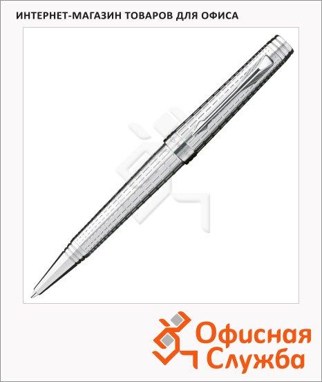 Ручка шариковая Parker М, черная, серебристый корпус