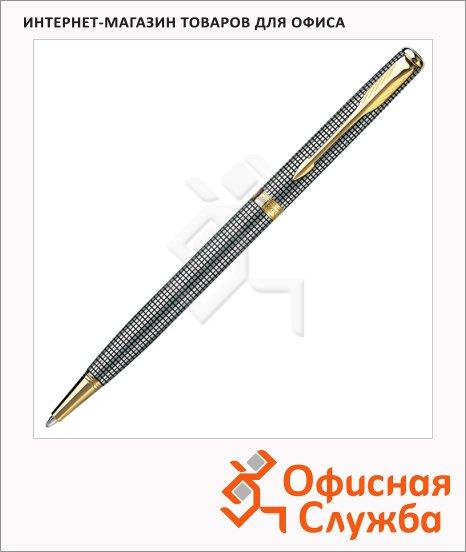 фото: Ручка шариковая Parker Sonnet Slim K434 М серебристо-черный/позолоченный корпус, S0808180