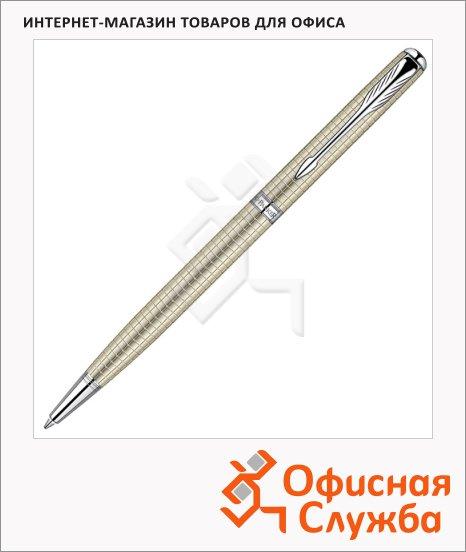 Ручка шариковая Parker Sonnet Slim K435 М, черная, серебристый/латунь корпус