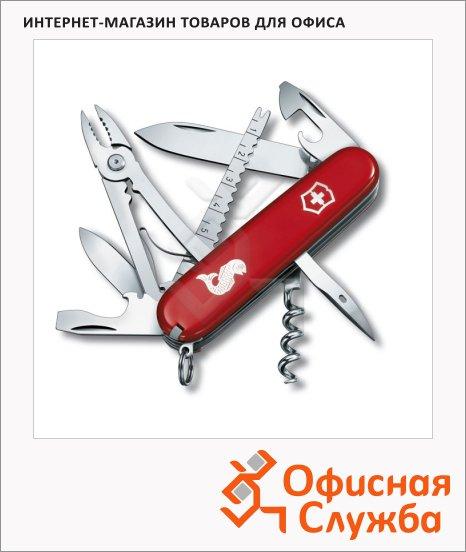 фото: Нож офицерский 91мм Victorinox Angler 1.3653.72 18 функций, 4 уровня, красный, с логотипом рыба