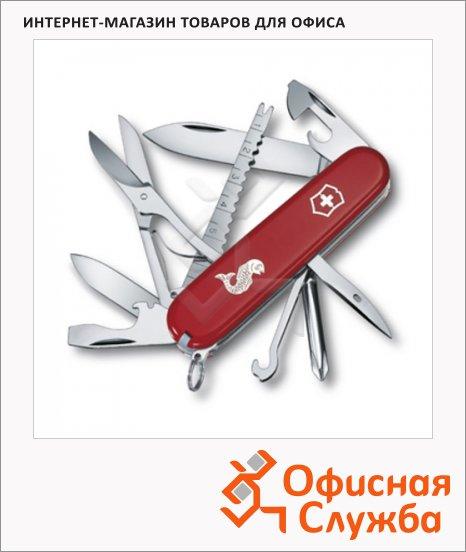 фото: Нож офицерский 91мм Victorinox Fisherman 1.4733.72 17 функций, 4 уровня, красный, с логотипом рыба