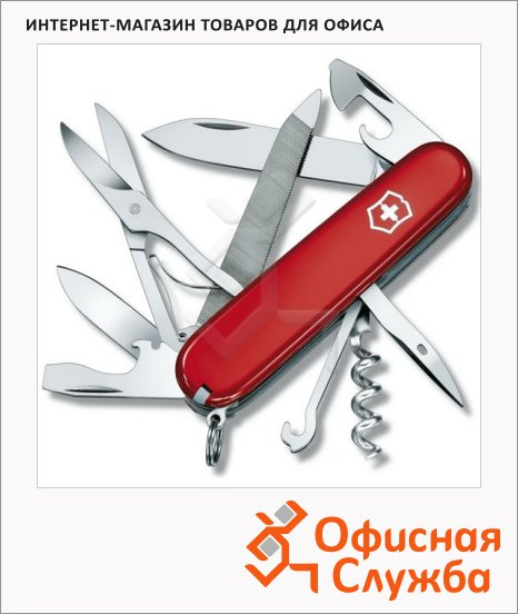 Нож офицерский 91мм Victorinox Mountaineer 1.3743, 18 функций, 4 уровня, красный