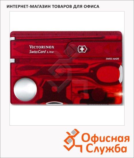 Швейцарская карта Victorinox SwissCard Lite 0.7300.TB1, 13 функций, красная