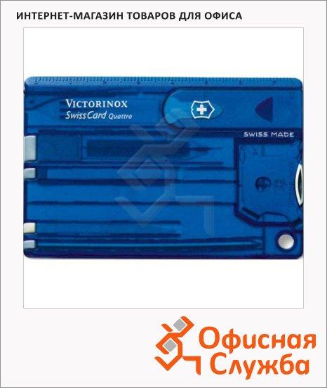 фото: Швейцарская карта Victorinox SwissCard Quattro Sapphire 0.7222.T2 14 функций, синяя