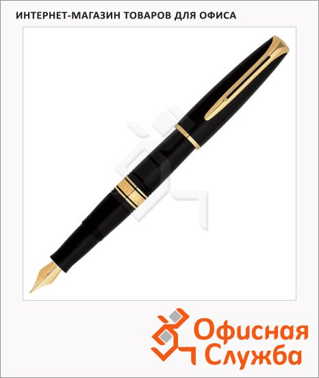 Ручка перьевая Waterman Charleston F, черный с золотом корпус