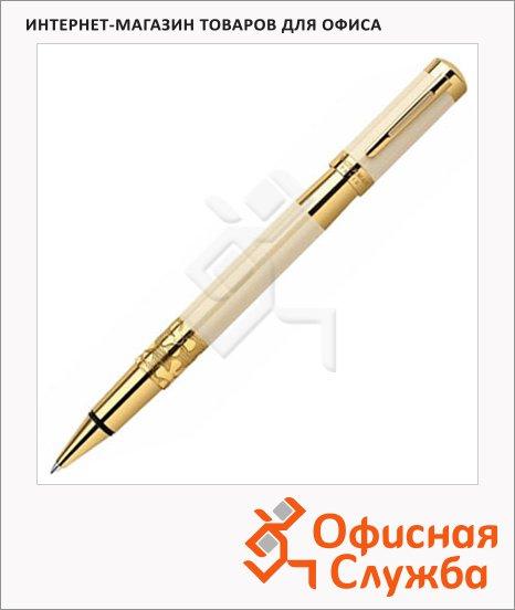Ручка-роллер Waterman Elegance, черная, F, слоновая кость/золотой корпус