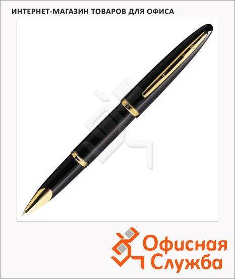 Ручка-роллер Waterman F, черная, черный с золотом корпус