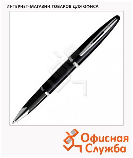 Ручка-роллер Waterman F, черная, черный с серебром корпус