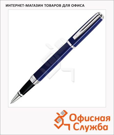 Ручка-роллер Waterman F, черная, голубой/серебристый корпус