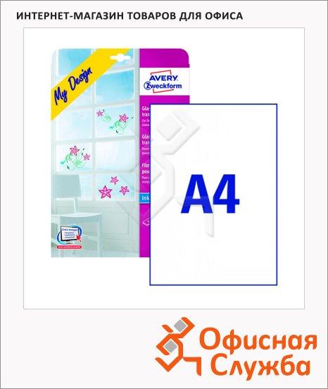 Пленка для стекла Avery Zweckform удаляемая MD3002, прозрачная, 210x297мм, 4 листа, А4, для струйной печати