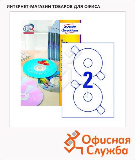 Этикетки для CD/DVD Avery Zweckform L6043-100, белые матовые, d=117мм, 2шт на листе А4, для всех видов печати, 100 листов, 200шт
