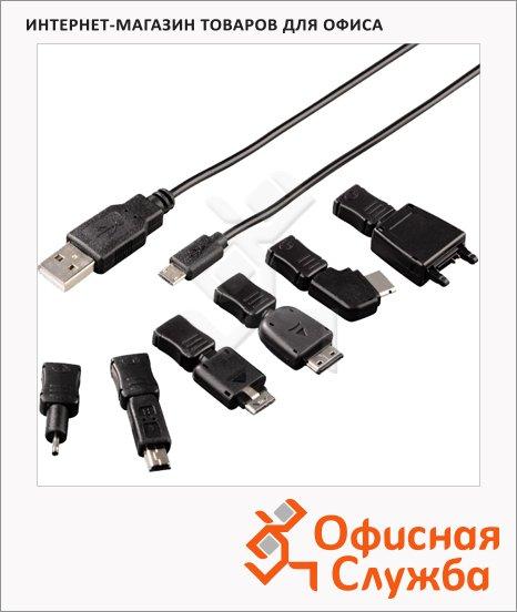 Зарядное устройство Hama USB+Mini USB+ micro USB+5 специфических коннекторов, черное, H-102006