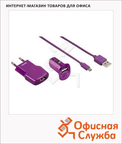 Зарядное устройство Hama Picco USB+micro USB, лиловое