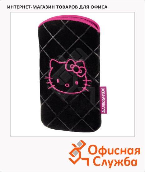 фото: Чехол для мобильного телефона черно-розовый 1х12х6.7см, велюровый