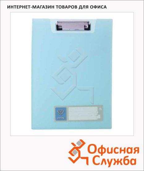 Клипборд с крышкой Бюрократ Crystal голубая, А4, CR602BLUE